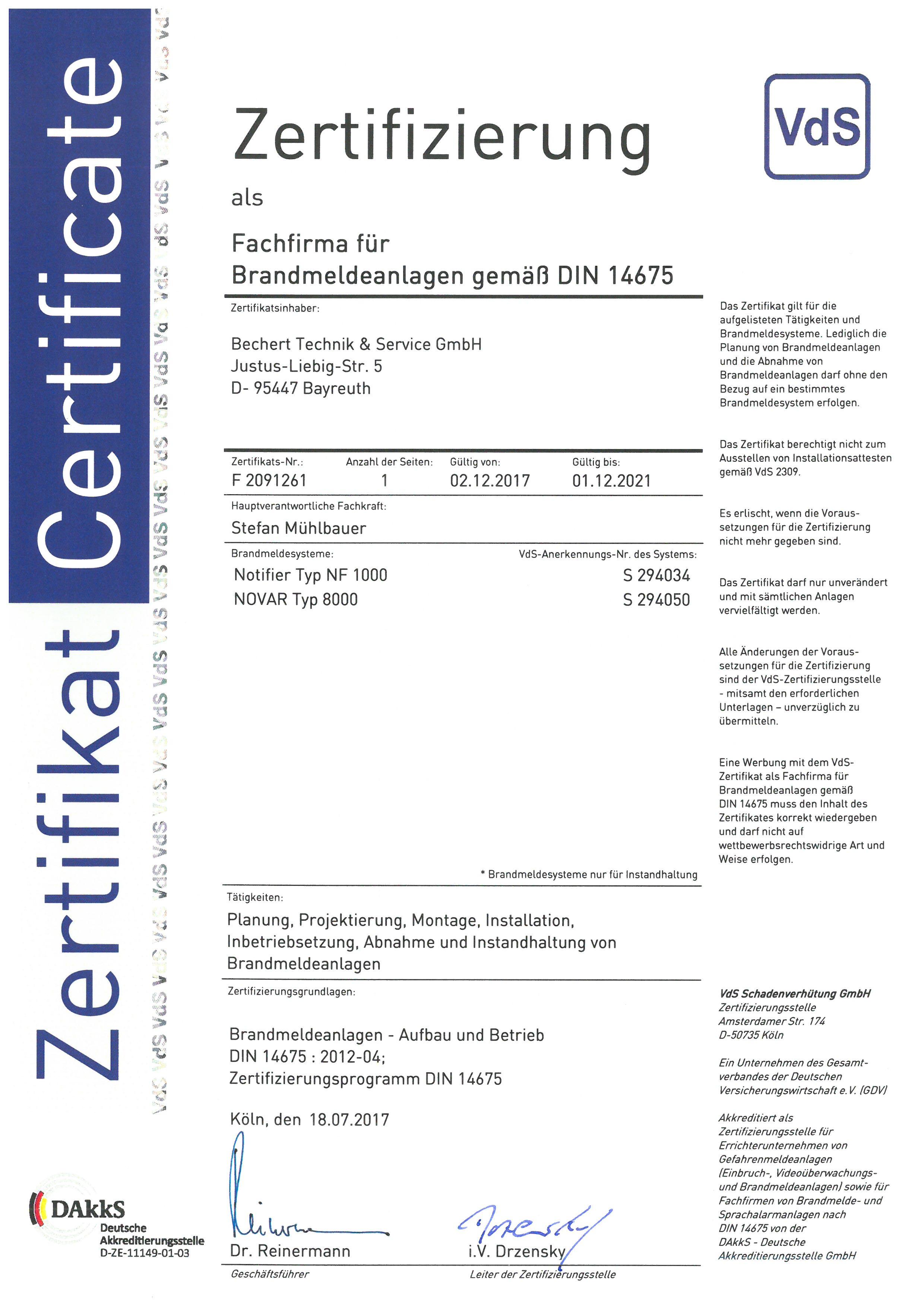 Fachfirma für Brandmeldeanlagen gemäß DIN 14675